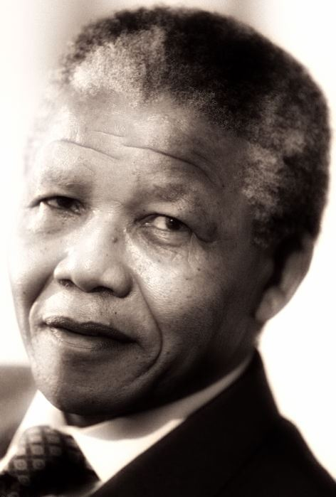 Nelson Mandela, photograph rendered from AFP/Ghetty Images